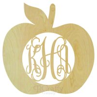 Apple Wooden Shape with Monogram Insert