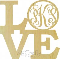 Love Stacked with Letter in the O - Laser Cut