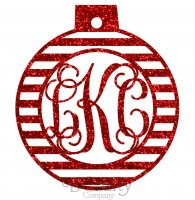 Ornament Ball With Stripes Monogram Acrylic Ornaments - 1/8 inch