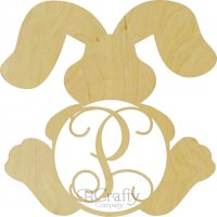 Bunny Sitting With Two Floppy Ears Border Single Wooden Letter
