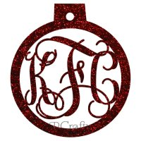 Ornament Ball Border Monogram Acrylic Ornaments - 1/8 inch