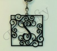 Single or Triple letter Monogram Keychains with an Ornate Border Style 2