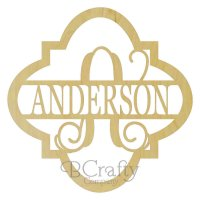 Quatrefoil Border Single Letter with Name