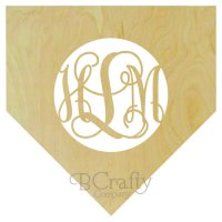 Home Plate Wooden Shape with Monogram Insert