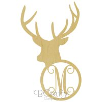 Deer Head with Antlers Border Single wooden letter
