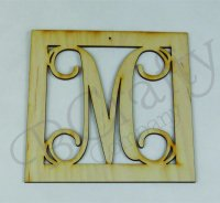 Vine Single Letter Wooden Ornaments - 1/8 inch thick