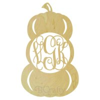 Pumpkin Stacked Wooden Shape with Monogram Insert
