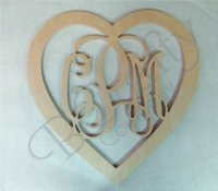 HEART Border Connected Monograms