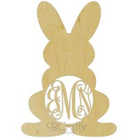 Wholesale Wooden Bunny w Legs Monogram Border
