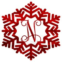 Snowflake Style 2 Border Single Letter Acrylic Ornaments-1/8 inch