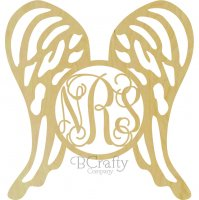Wings Wooden Shape with Monogram Insert