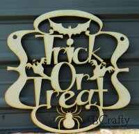 Trick Or Treat Wooden Sign 1/8 inch thick