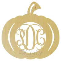 Pumpkin Wooden Shape with Monogram Insert - Style 2