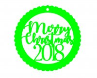 Merry Christmas 2018 Acrylic Ornaments-1/8 inch
