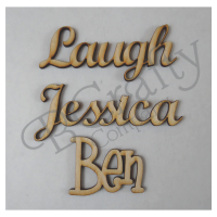 CONNECTED wooden letters - 1/8 inch thick