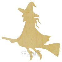 Witch On a Broomstick Wooden shape