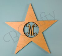 Star Wooden Shape with Monogram Insert