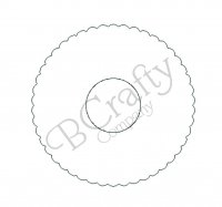 Scalloped Circle Disc with Inner Hole Wooden Shape