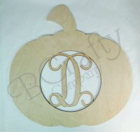 Pumpkin Wooden Shape with Monogram Insert - Style 1