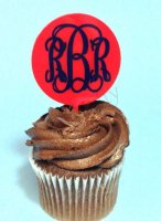 Circle Cupcake Topper with Vinyl Monogram 6 count - Laser