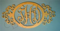 Oval Vine Monograms with an Ornate Border - 1/2 Inch