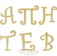 Wooden Curly Greek Letters - 1/2 inch thick