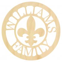 Wooden Family Monogram with Fleur de lis
