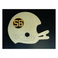 Football Helmet Wooden Shape with Monogram Insert