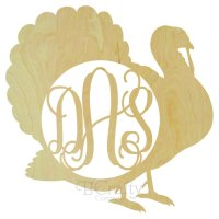 Turkey Wooden Shape with Monogram Insert