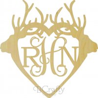 Wholesale Wooden Double Deer Antler Monogram