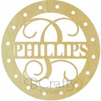 Family Monogram w Circle and Ribbon Hole Border
