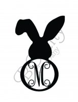 Bunny With One Floppy Ear Border Single Wooden Letter