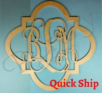Wooden Monogram w Quatrefoil Border