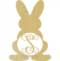 Bunny With Legs Border Single Wooden Letter