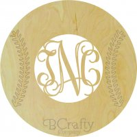 Baseball with Stitches Wooden Shape with Monogram Insert