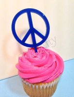 Peace Sign Cupcake Topper 6 count - Laser