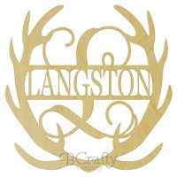 Antler Single Letter with Name - Deer Antler Border