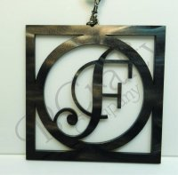 Square and Circle Border Single Letter Keychains Acrylic
