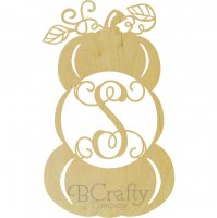 Pumpkin Stacked with Vines Wooden Shape with Monogram Insert