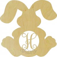 Wholesale Wooden Bunny w Floppy Ears Monogram Border