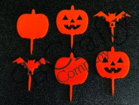 Halloween Package 1 Cupcake Topper 6 count - Laser