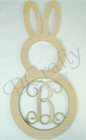Bunny Wooden Shape with Monogram Insert