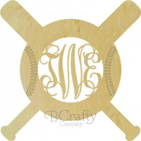 Bats and Baseball with Stitches Wooden Shape with Monogram Insert