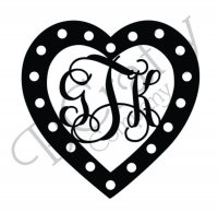 Heart Border Connected Monograms with Ribbon Holes