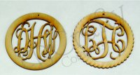Vine Monogram Wooden Ornaments - 1/8 inch thick