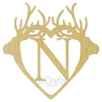 Double Deer Antler Border Single wooden letter